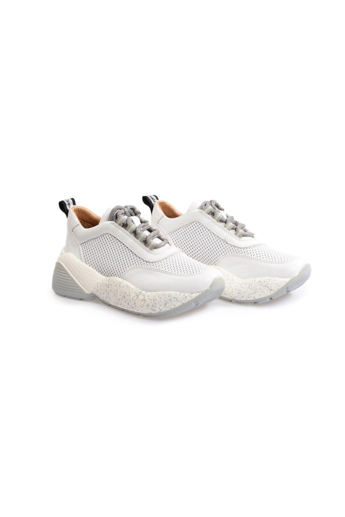 Flower Beyaz Yüksek Tabanlı Bağcıklı Spor Ayakkabı 2
