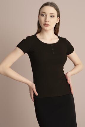 TENA MODA Kadın Haki Kısa Kollu Kaşkorse Önü Batlı Bluz