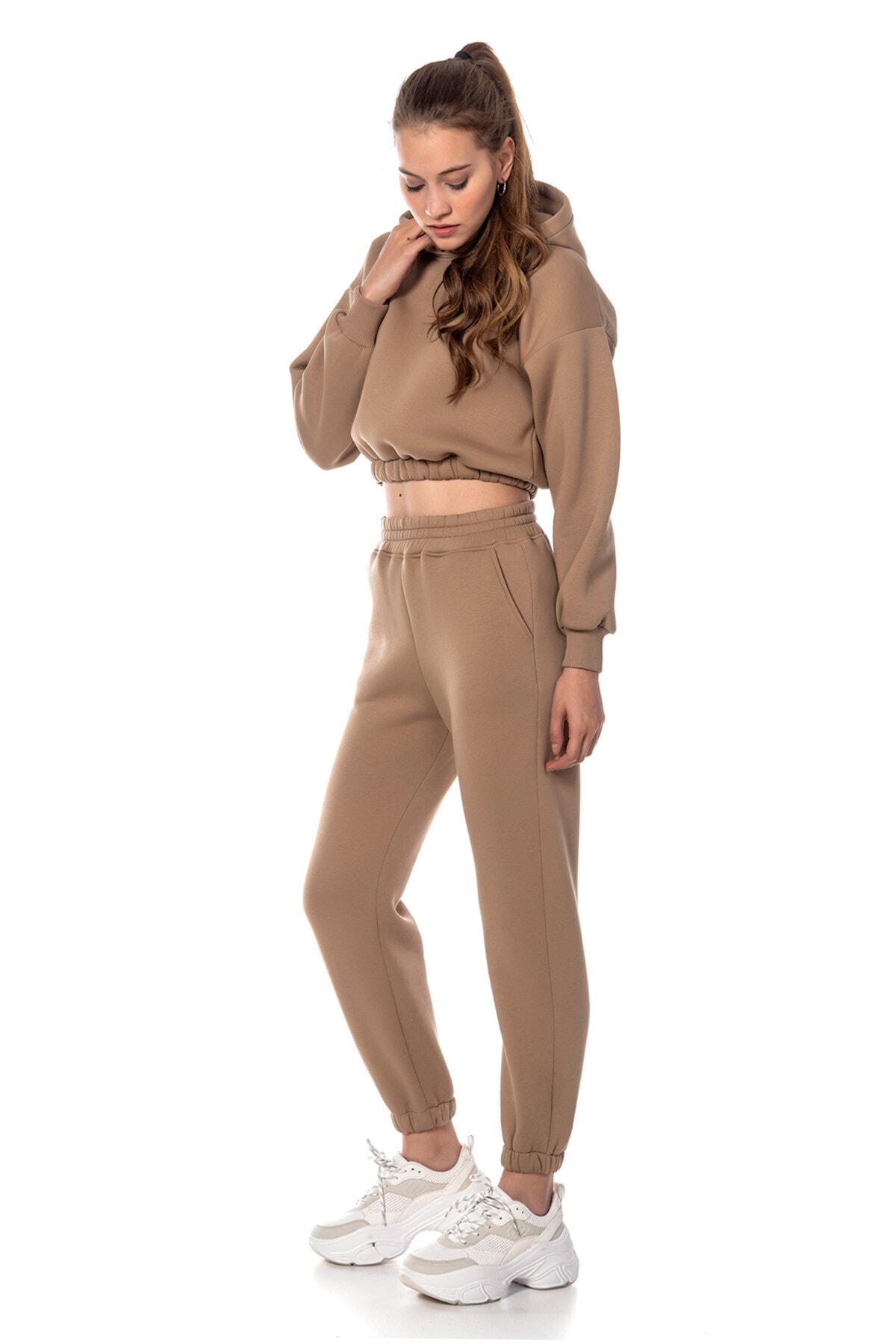 CAYA Kadın Bej Renk Yüksek Bel Jogger Eşofman Takımı Cy84156 1