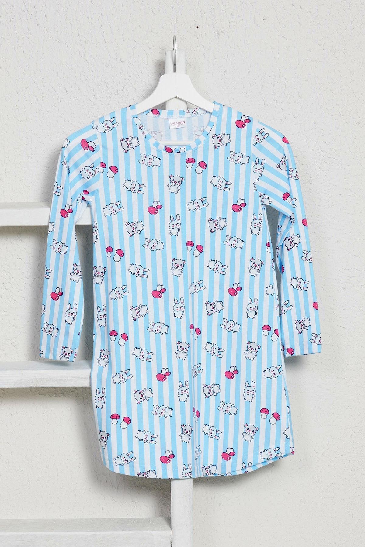 VİENETTA Kız Çocuk P.suprem Uzun Kol 3-7 Yaş Beden Baskılı Desen Mavi Tunik 1