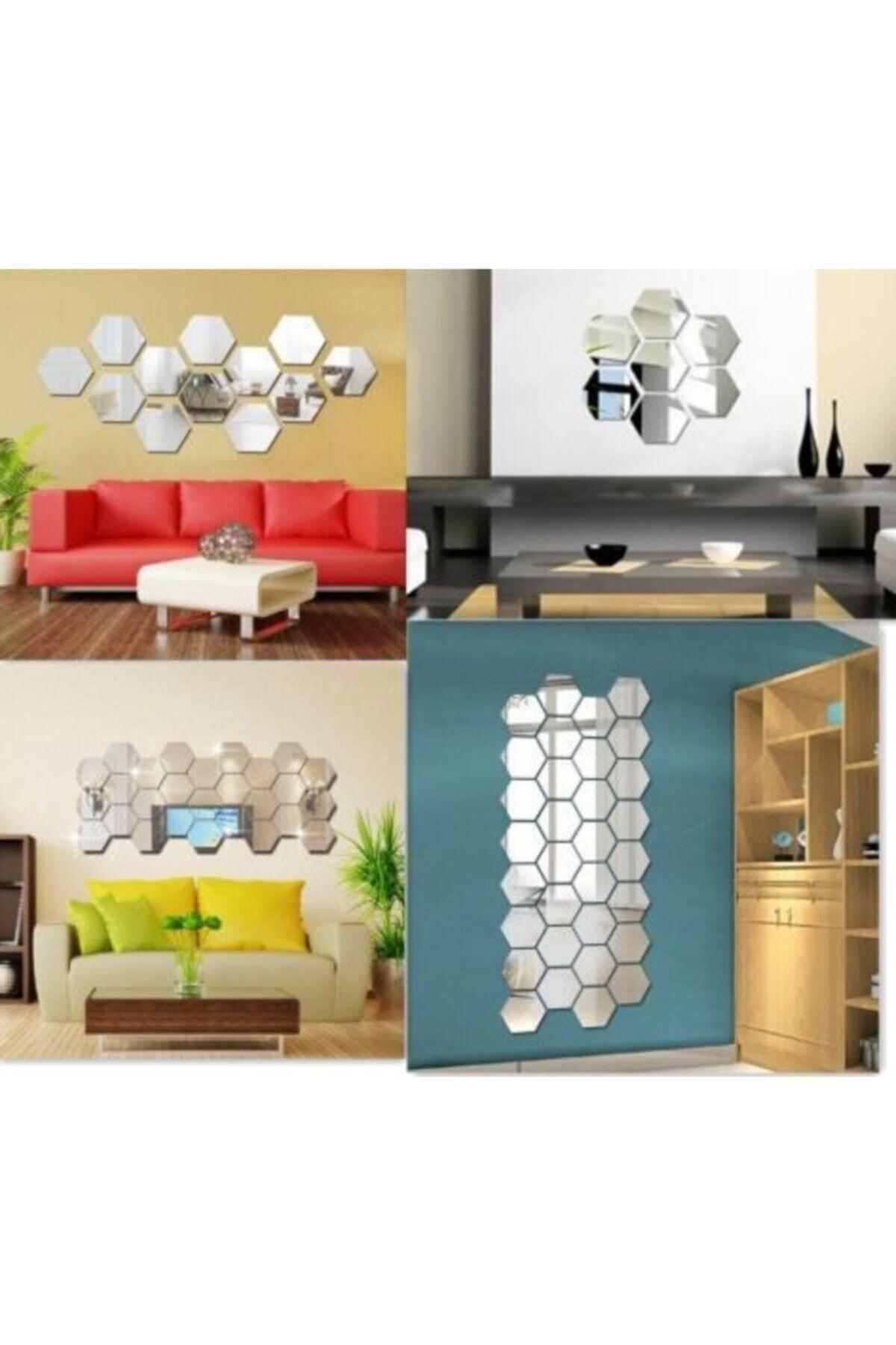 Artanhediyelik Bal Peteği Gümüş Dekoratif Altıgen 12x Süs Akrilik Ayna 11x12,5cm Antre Duvar Pleksi Yapışkan Bantlı 1