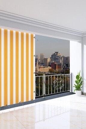 Ataylar Balkon Perdesi, 200 X 265 Sarı Renkli. Balkon Brandası