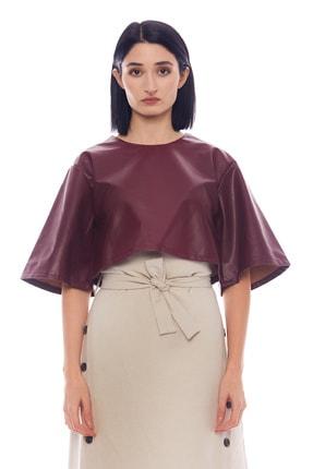 Manche Bordo Kadın Deri Gömlek   Mk21w163133