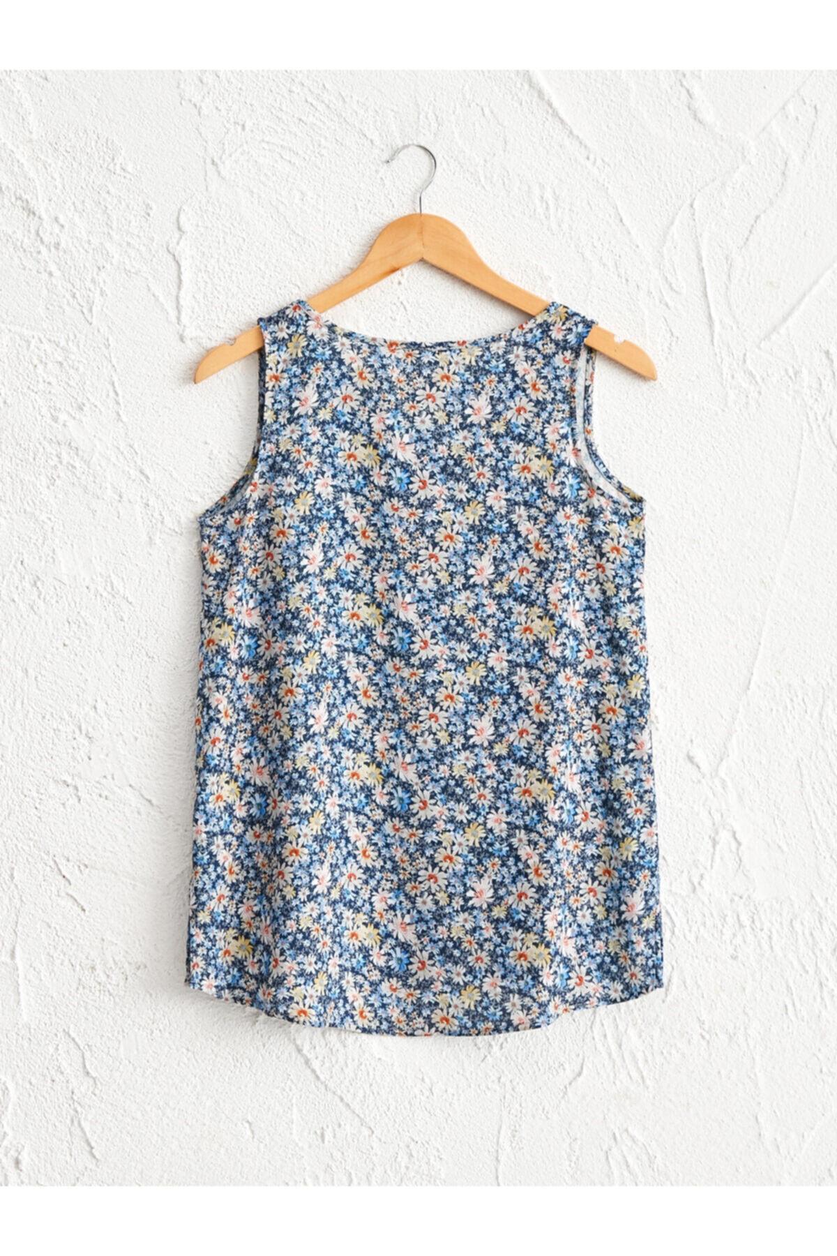LC Waikiki Kadın Mavi Baskili  Bluz 2