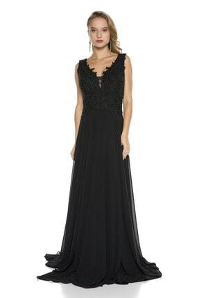 Abiye Sarayı Siyah Işlemeli Dekolteli Şifon Uzun Abiye Elbise