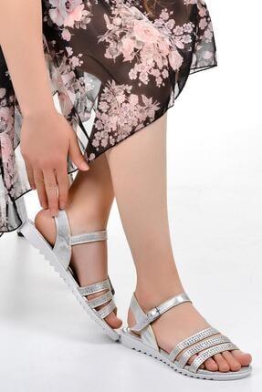 Ayakcenter Ege 6284 Gümüş Yazlık Bayan Düz Sandalet Ayakkabı