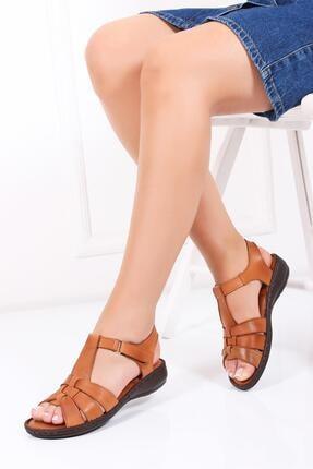 Deripabuc Hakiki Deri Taba Kadın Deri Sandalet Dc-0151