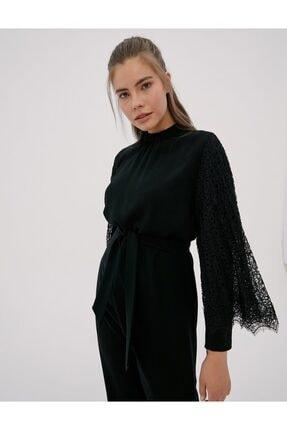 Kayra Kolları Güpürlü Uzun Tunik Siyah A20 21020