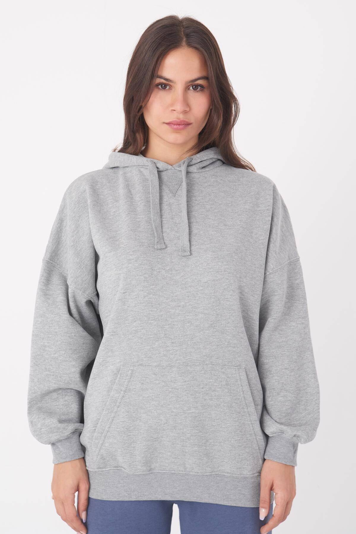 Addax Kadın Gri Melanj Kapüşonlu Sweatshirt S0519 - P10 - V2 ADX-0000014040 1