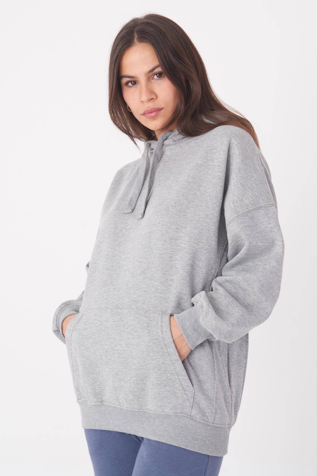 Addax Kadın Gri Melanj Kapüşonlu Sweatshirt S0519 - P10 - V2 ADX-0000014040 2