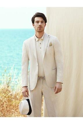 Dufy Bej Çizgili Keten Karışımlı Nefes Alabilen Erkek Pantolon - Modern Fit