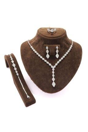 OSMANLI GÜMÜŞ Kleopatra Su Yolu Gümüş Bayan Set - Kolye, Bileklik, Küpe, Yüzük
