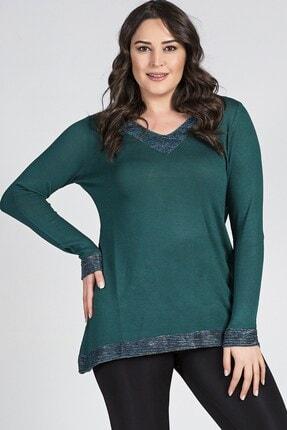Womenice Büyük Beden Yeşil Yaka Kol Ucu Simli Bluz