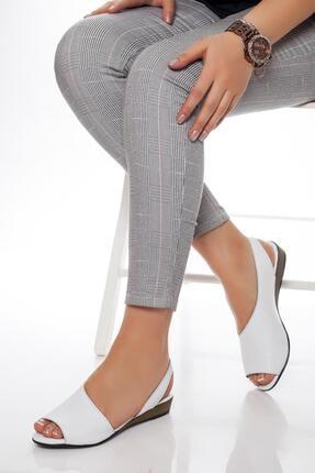 Deripabuc Hakiki Deri Beyaz Kadın Deri Sandalet Dp15-0051