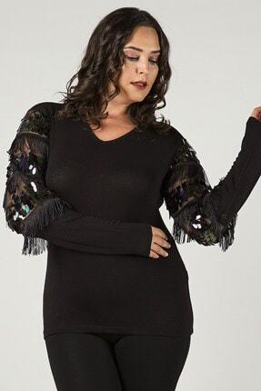 Womenice Büyük Beden Siyah Kolları Pul Detaylı Püsküllü Bluz