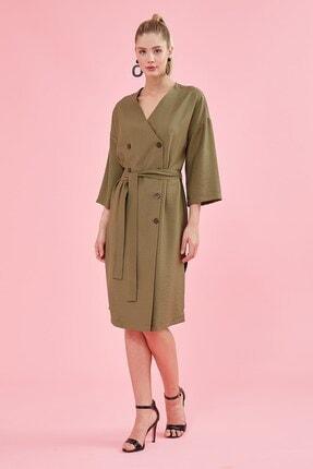Journey Elbise Ön Kruvaze Düğmeli- Belden Kuşaklı, Yanlardan Yırtmaçlı, Yarasa Kol
