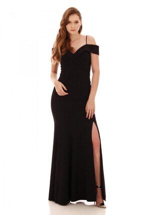 Pierre Cardin Carmen Siyah Krep Carmen Yaka Uzun Abiye Elbise