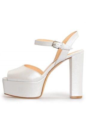 Flower Kadın  Beyaz Deri Platformlu Abiye Ayakkabı