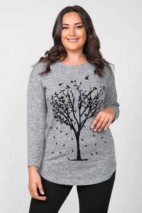 Womenice Kadın Gri Pamuklu Flok Ağaç Baskılı Büyük Beden Bluz