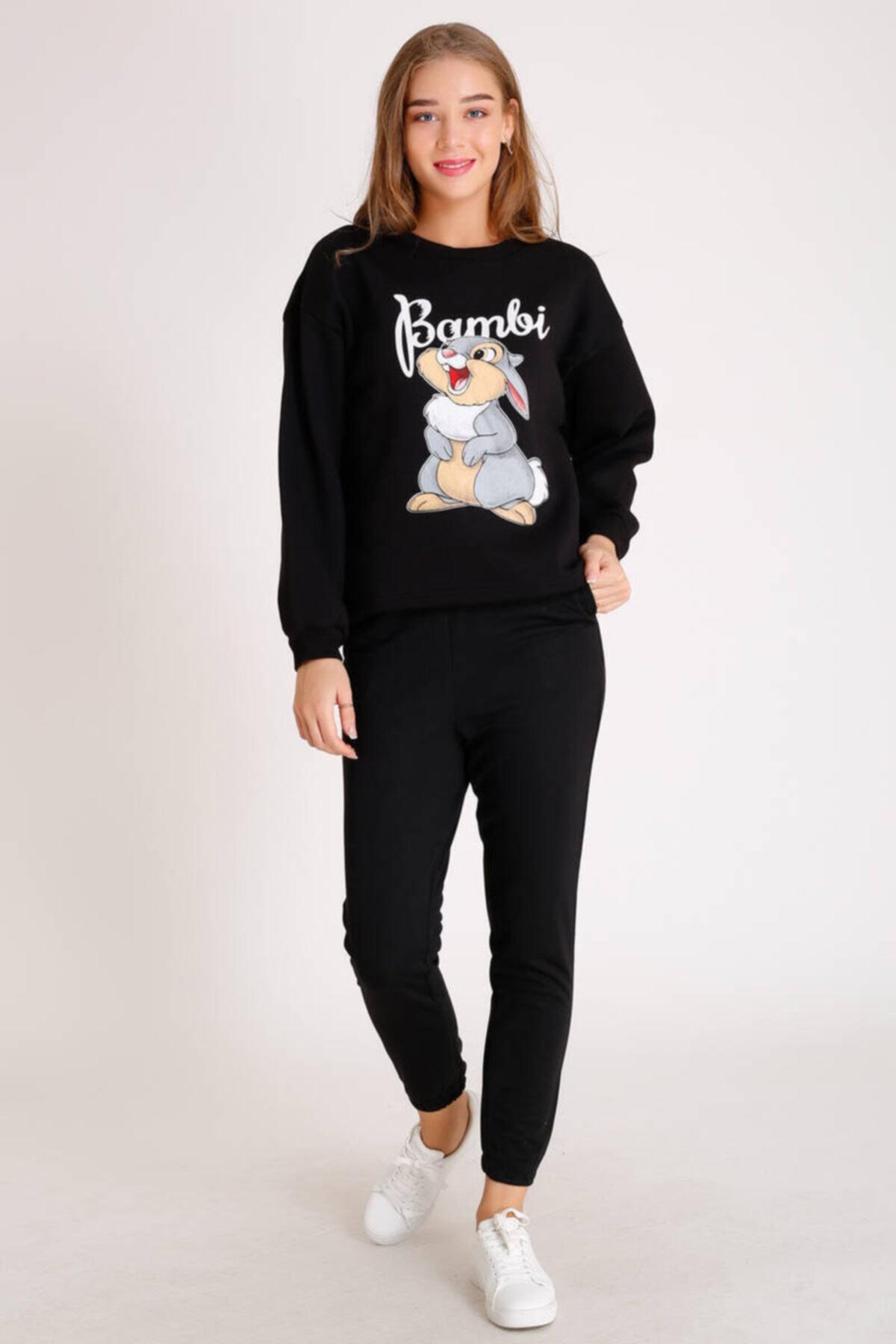 Zechka Bambi Baskılı Sweatshirt (Zck068) 1