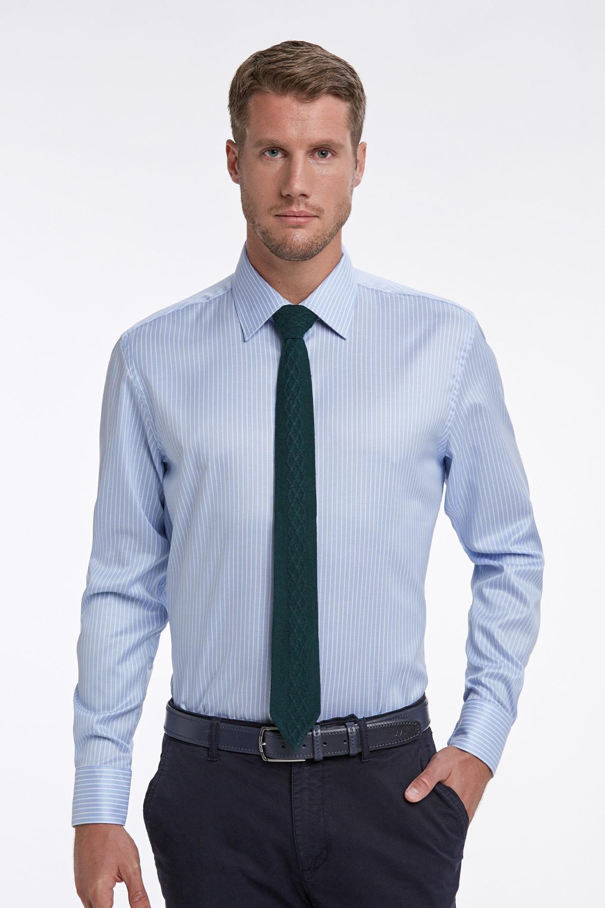 Hemington Mavi Beyaz Çizgili Non Iron Business Gömlek 1