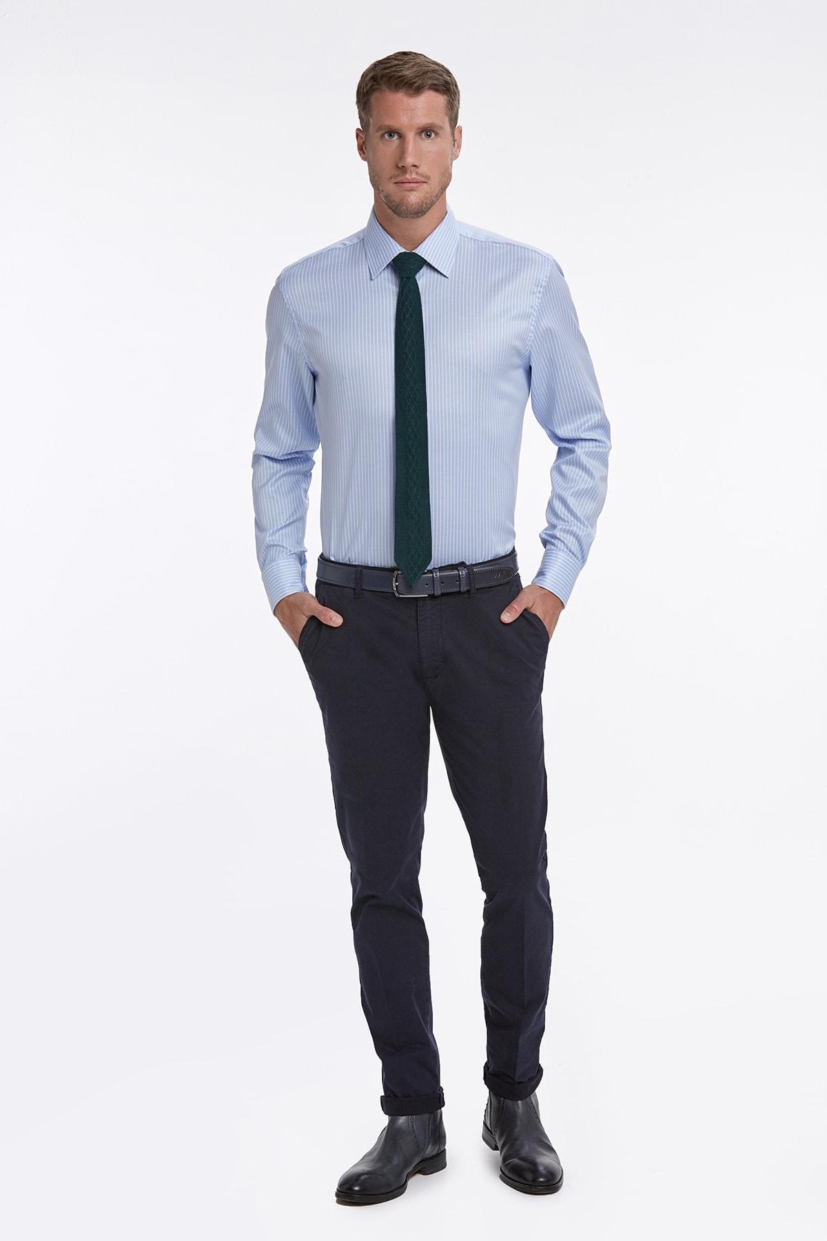 Hemington Mavi Beyaz Çizgili Non Iron Business Gömlek 2