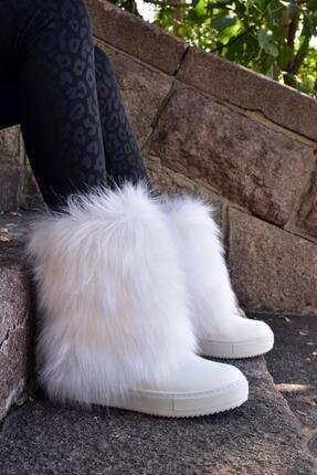 MORENİCA Gizli Topuk Tüylü Kışlık Beyaz Bot