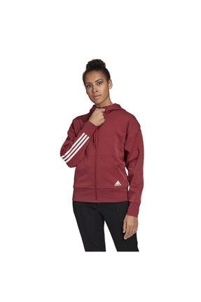 adidas W 3s Dk Hoodie Kadın Kırmızı Günlük Stil Ceket Gc6950