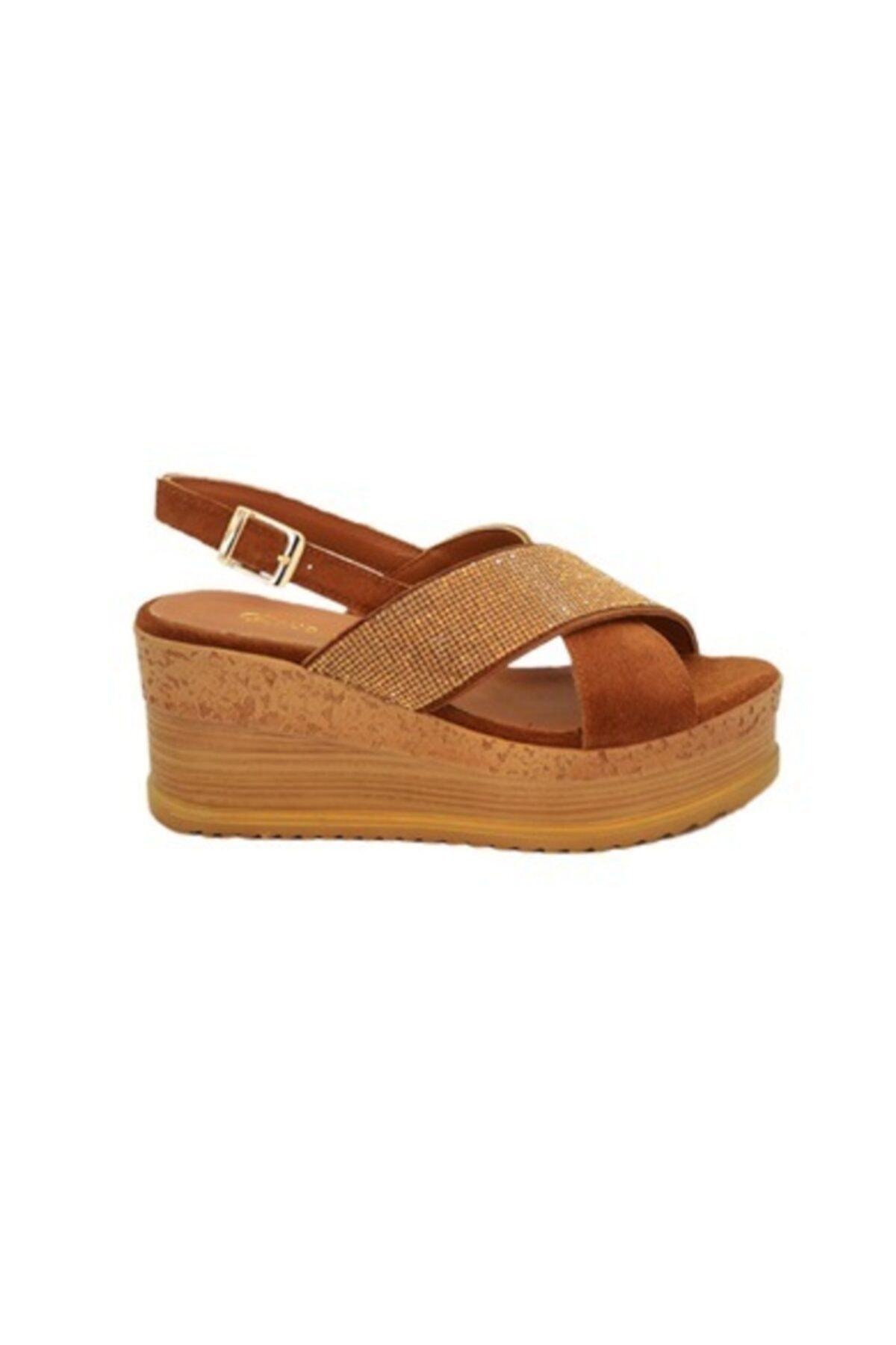 Rugano Hakiki Deri Taba Dolgu Taban Kadın Sandalet 1