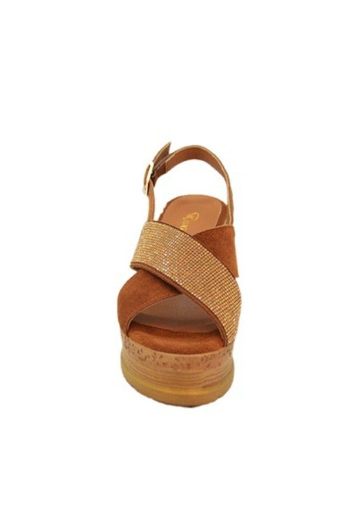Rugano Hakiki Deri Taba Dolgu Taban Kadın Sandalet 2