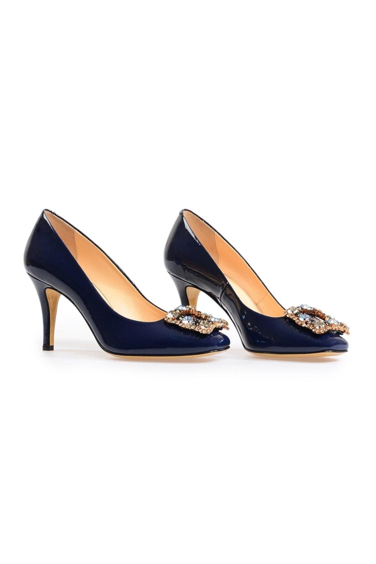Flower Lacivert Kare Tokalı Kadın Topuklu Ayakkabı 2