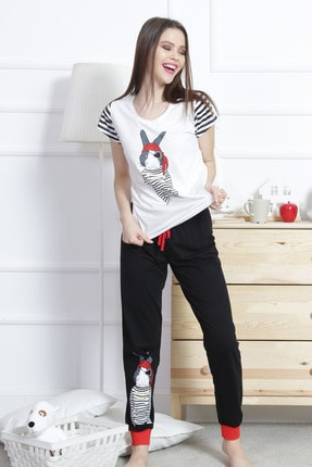 VİENETTA Kadın Pamuklu Sıfır Yaka Kısa Kol Pijama Takım