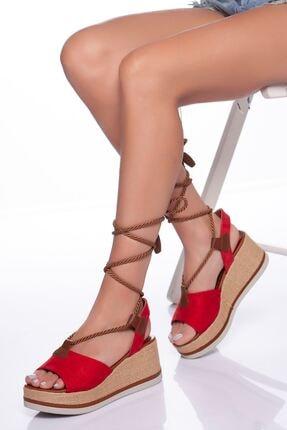 derithy -dolgu Topuklu Ayakkabı-kırmızı Süet