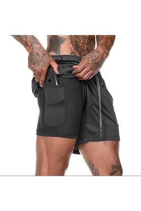 3CORPION Alpha Spor Şortu Siyah Koşu Şortu Fitness Şortu Çift Katlı Telefon Cepli