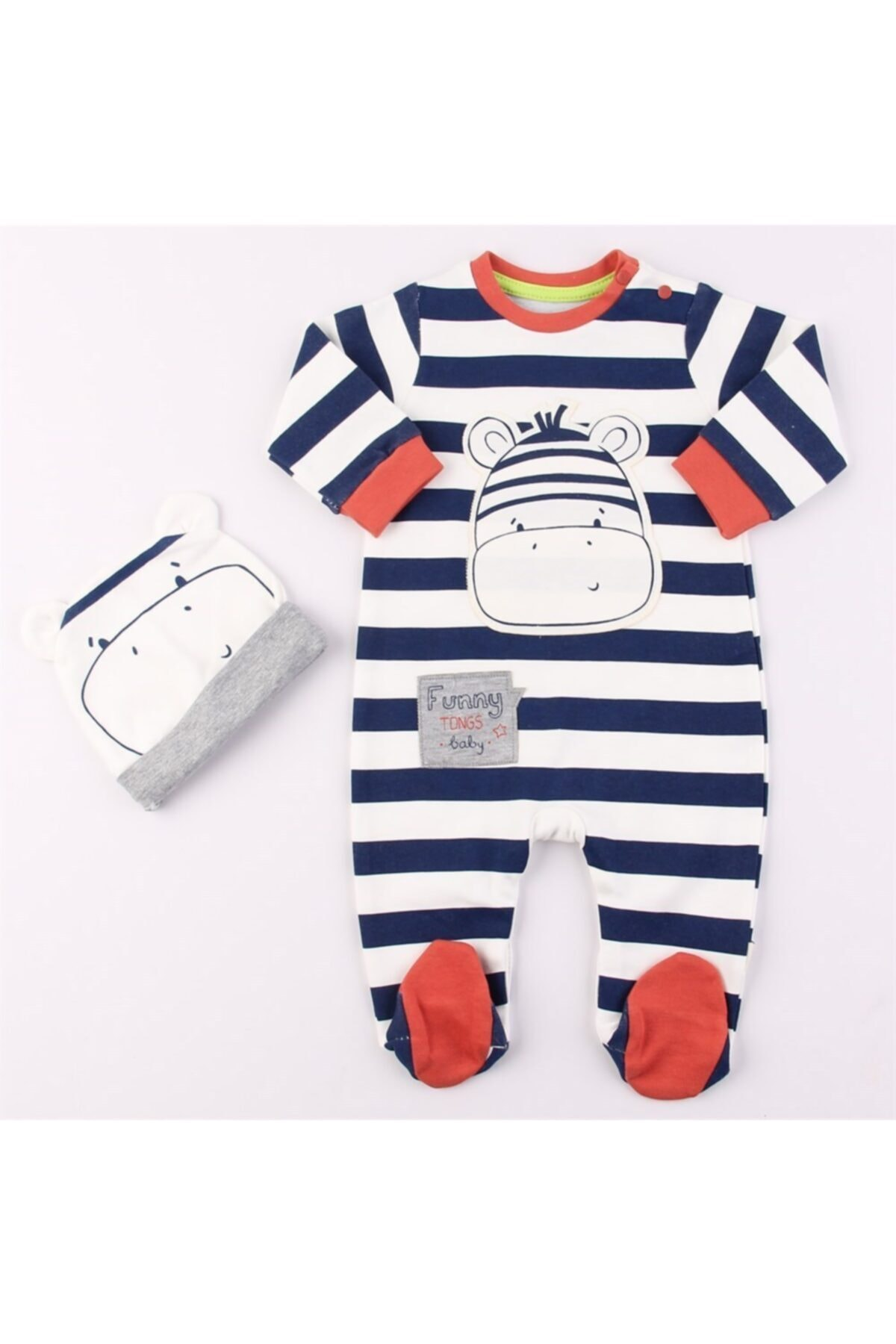 Mini Ropa Kiremit Zebra Çizgili Erkek Bebek Tulum 1