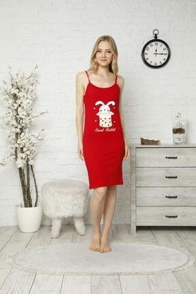 TENA MODA Kadın Kırmızı Ip Askılı Tavşan Baskılı Gecelik Pijama