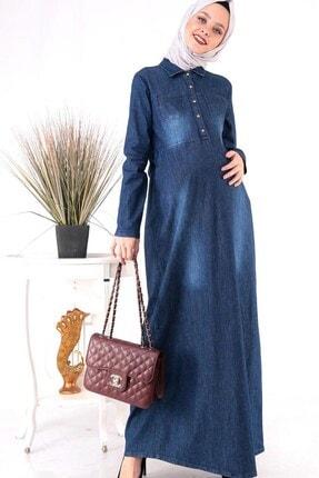 lohusahamile Cep Detaylı Duğmeli Uzun Kot Hamile Elbise
