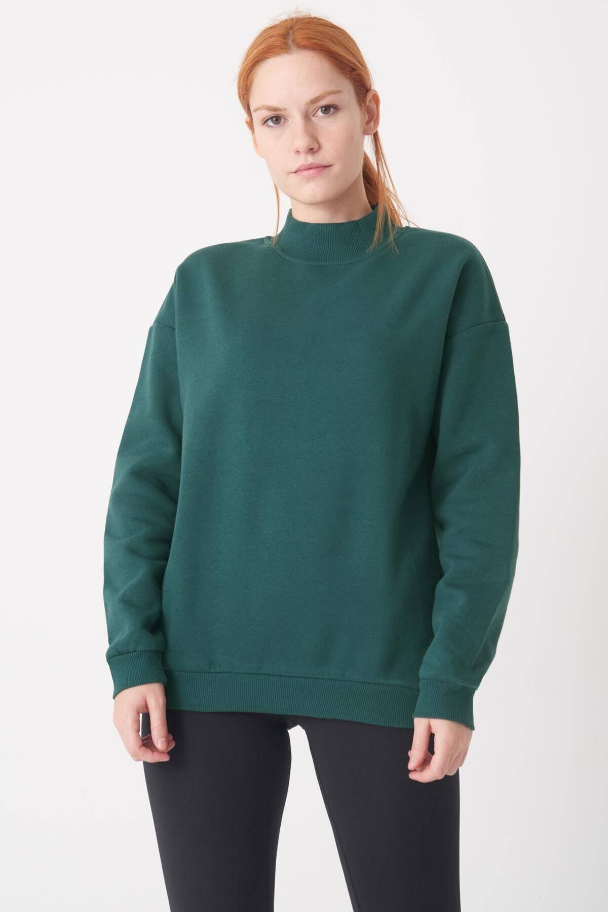 Addax Kadın Koyu Yeşil Yarım Balıkçı Yaka Sweat S8606 - I4 - I5 ADX-0000019754 2