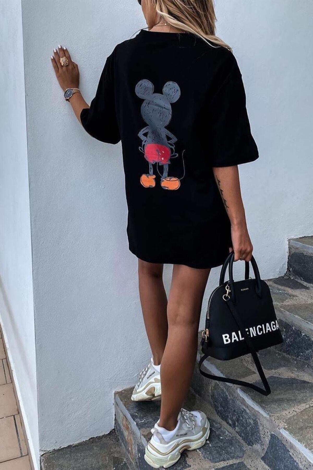 Unique Kadın Siyah Mickey Mouse Baskılı Oversize T-shirt 2
