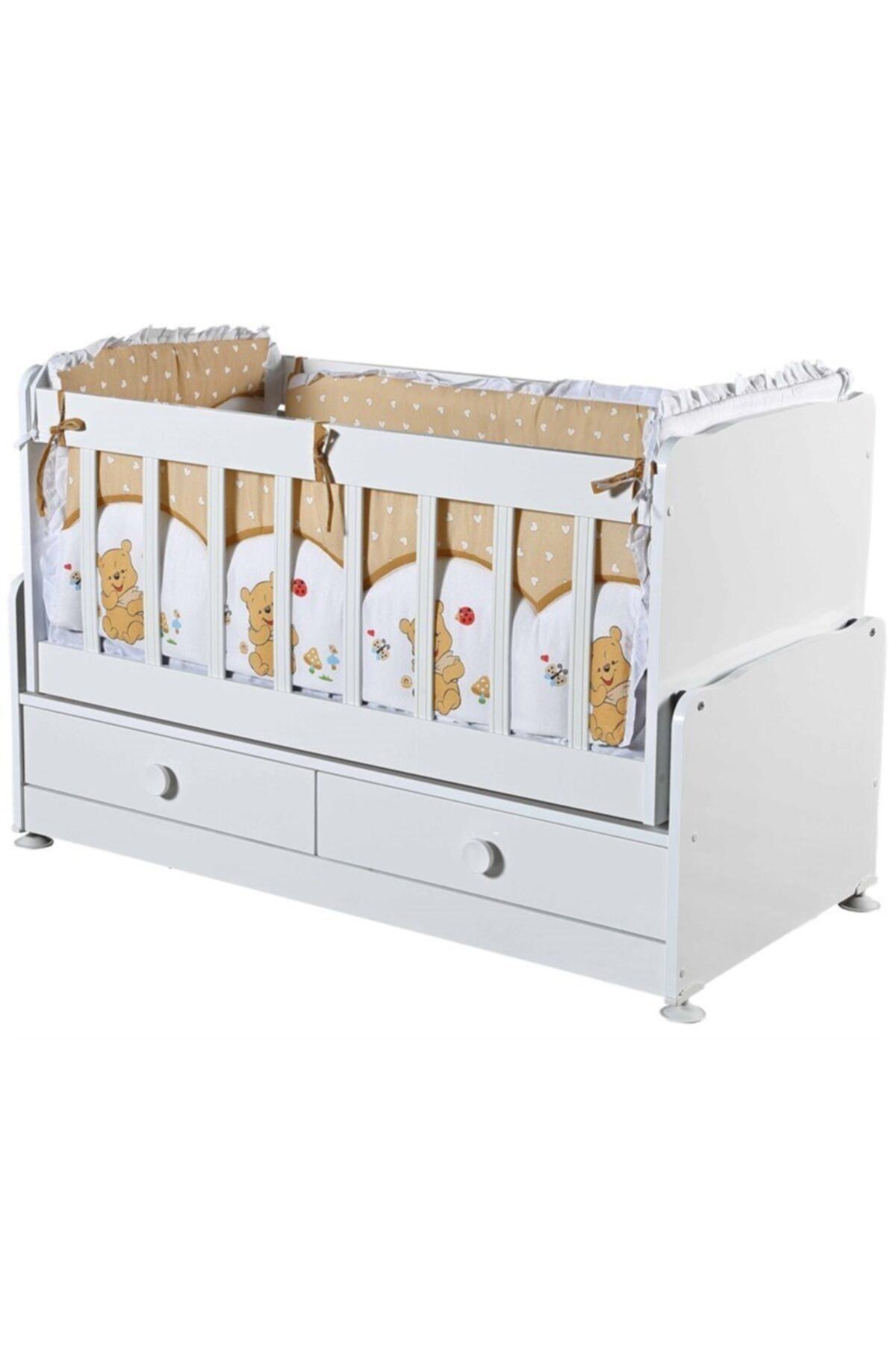 Diverso Home Çekmeceli Sallanır Anne Yanı Ahşap Bebek Beşiği 1