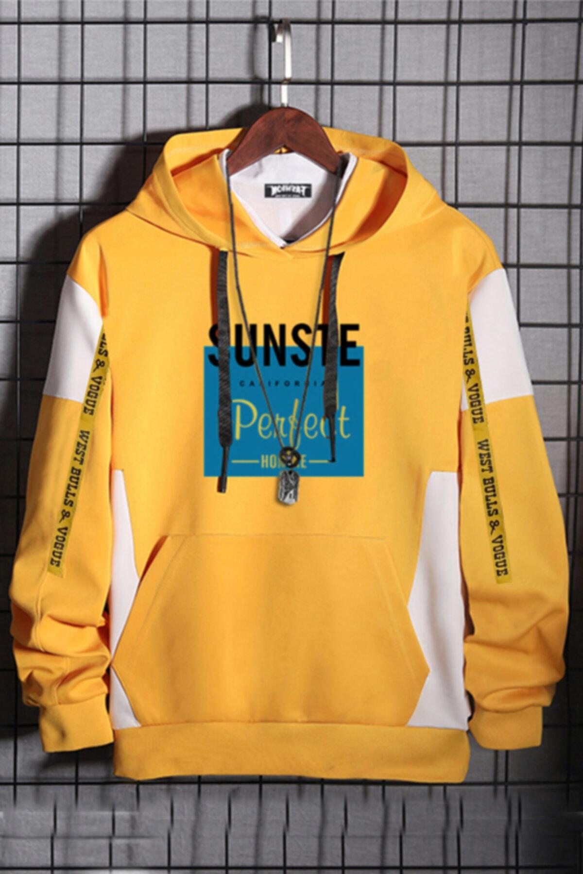WEST BULLS California Unisex Oversize Sarı %100 Pamuk Kapüşonlu Baskılı Sweatshirt 1
