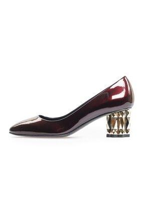 Flower Bordo Rugan Ökçe Detaylı Kalın Topuklu Ayakkabı