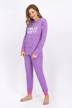 Hello Kitty Lisanslı Lila Kadın Pijama Takımı