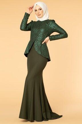 Moda Ebva Pul Payetli Tesettür Balık Abiye-2150 Yeşil