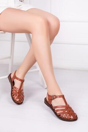 Deripabuc Hakiki Deri Taba Kadın Deri Sandalet Dp-0067