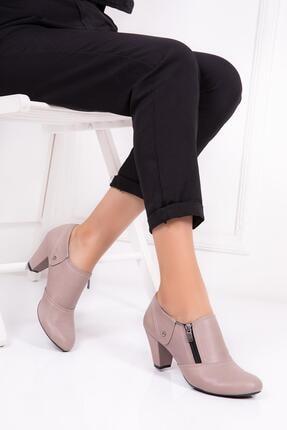 Deripabuc Hakiki Deri Dark Stone Kadın Topuklu Deri Ayakkabı Trc-1069