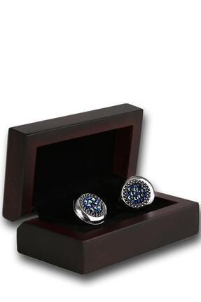 Kravatkolik Gümüş Renk Mavi Taşlı Kol Düğmesi Kd1211