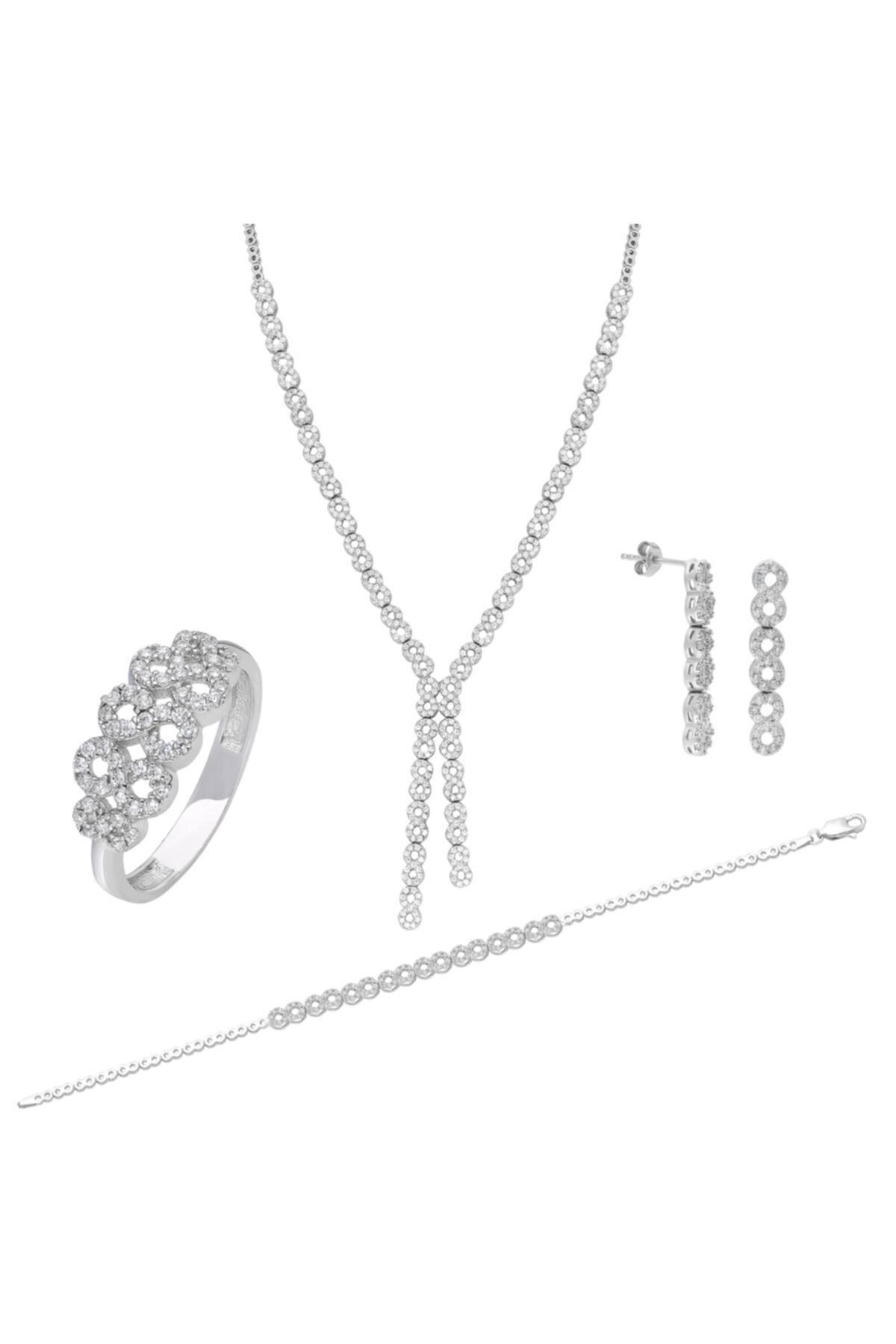 Chavin Su Yolu Gümüş Kolye Küpe Bileklik Yüzük Set Ef98 1