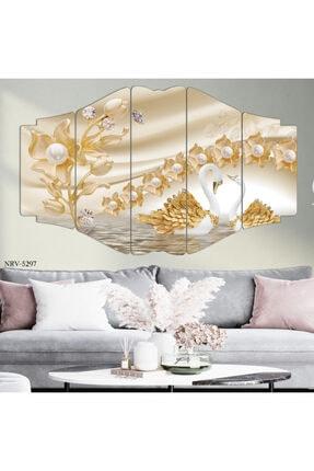 hanhomeart Gold Kuğu Parçalı Ahşap Duvar Tablo Seti