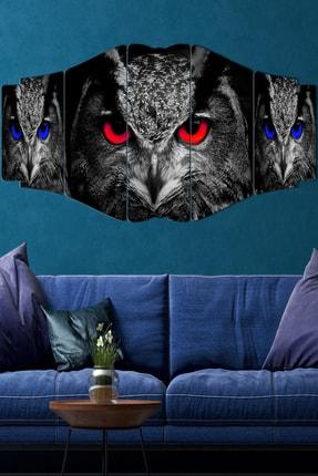 hanhomeart 3 Baykuş Parçalı Ahşap Duvar Tablo Seti